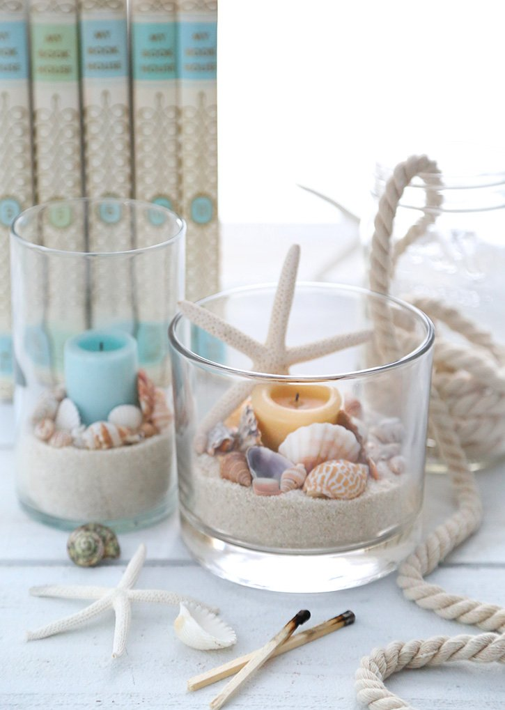 Easy Coastal Themed Candle Holders