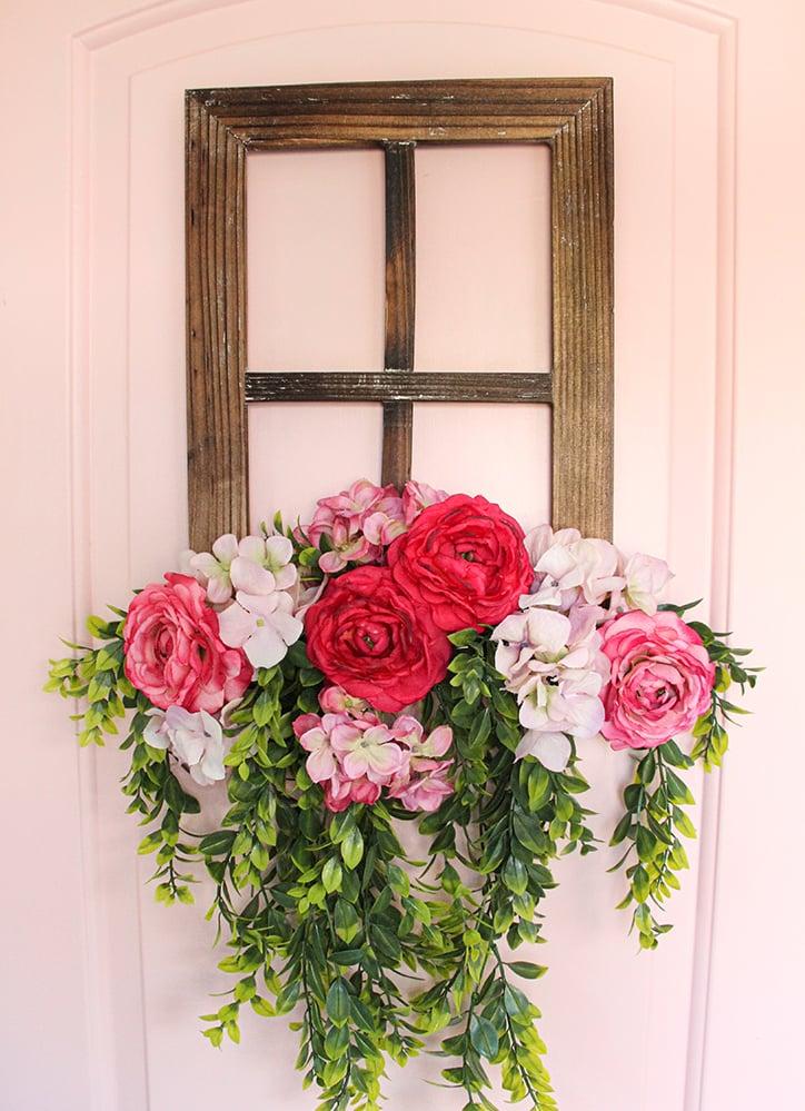 Rustic Floral Window Frame Decor